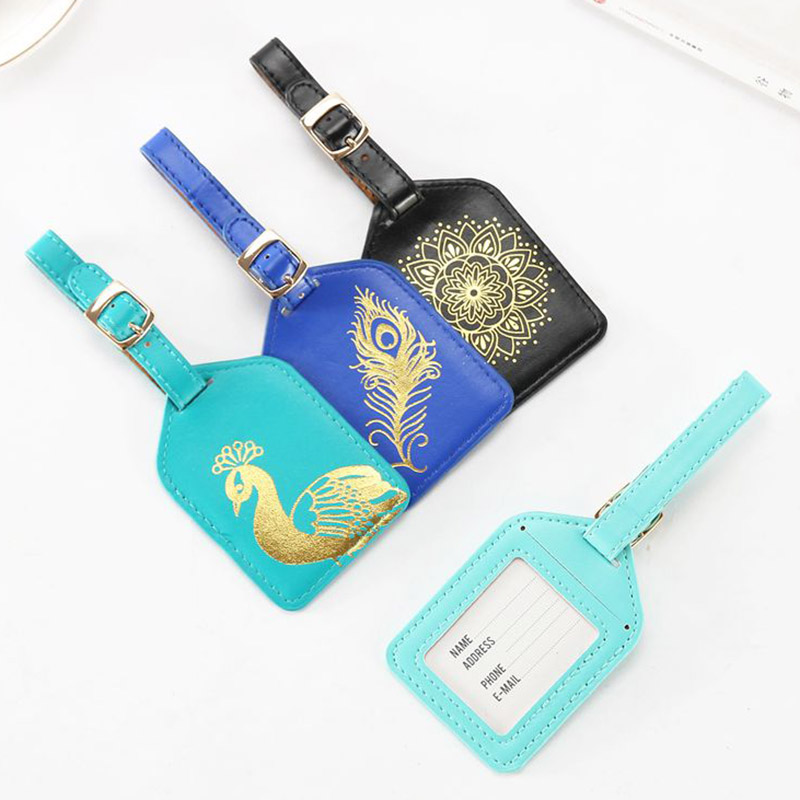 Travel Accessories Hot Stamping Luggage Tag Women Portable PU Leather Label Suitcase ID Address Holder Baggage Boarding Gift