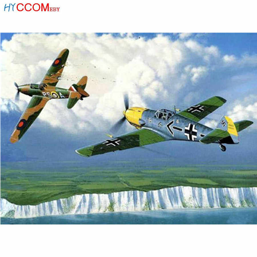Full square Diamond Painting Cross Stitch Every two world wars aircraft Air combat Diamond Embroidery Decoration Home Gift