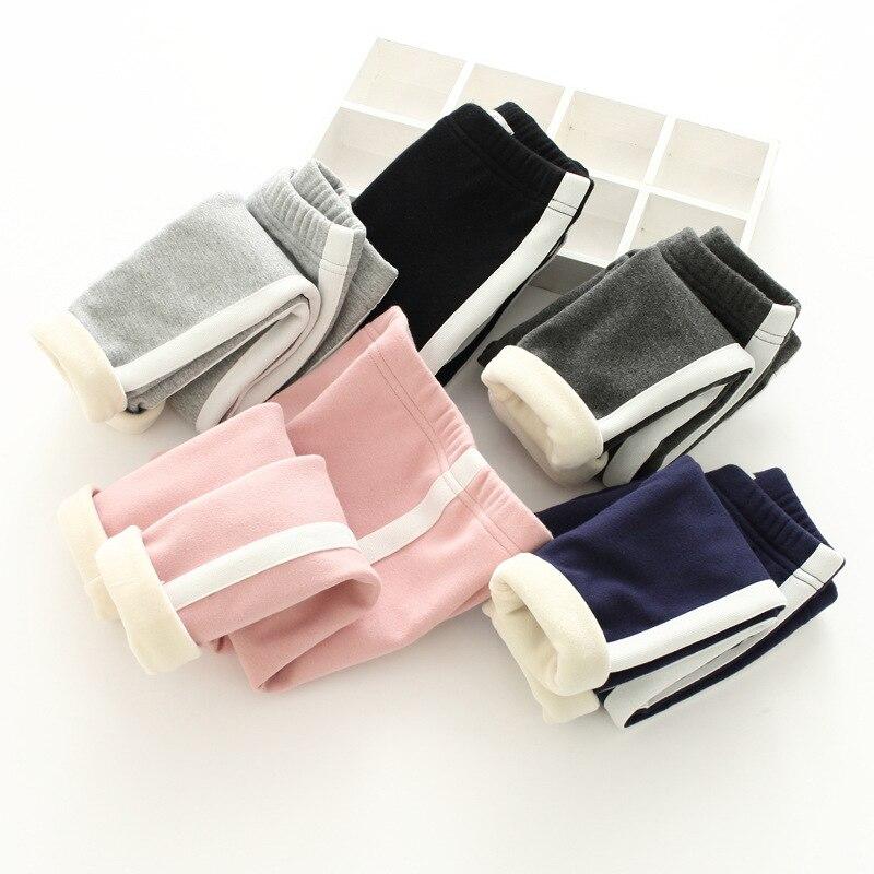 Girls Velvet Stripe Pants 2018 Winter Super Soft Trousers