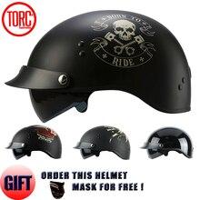 TORC BRAND 2017 Harley helmet With Inner Sun Visor Vintage Half Face Motorcycle Helmet Casco Casque Moto Retro Helmets DOT T55