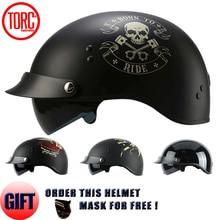 Torc марка 2017 harley шлем с внутренним солнцезащитным козырьком старинные пол-лица мотоциклетный шлем каско шлем moto ретро шлемы dot T55
