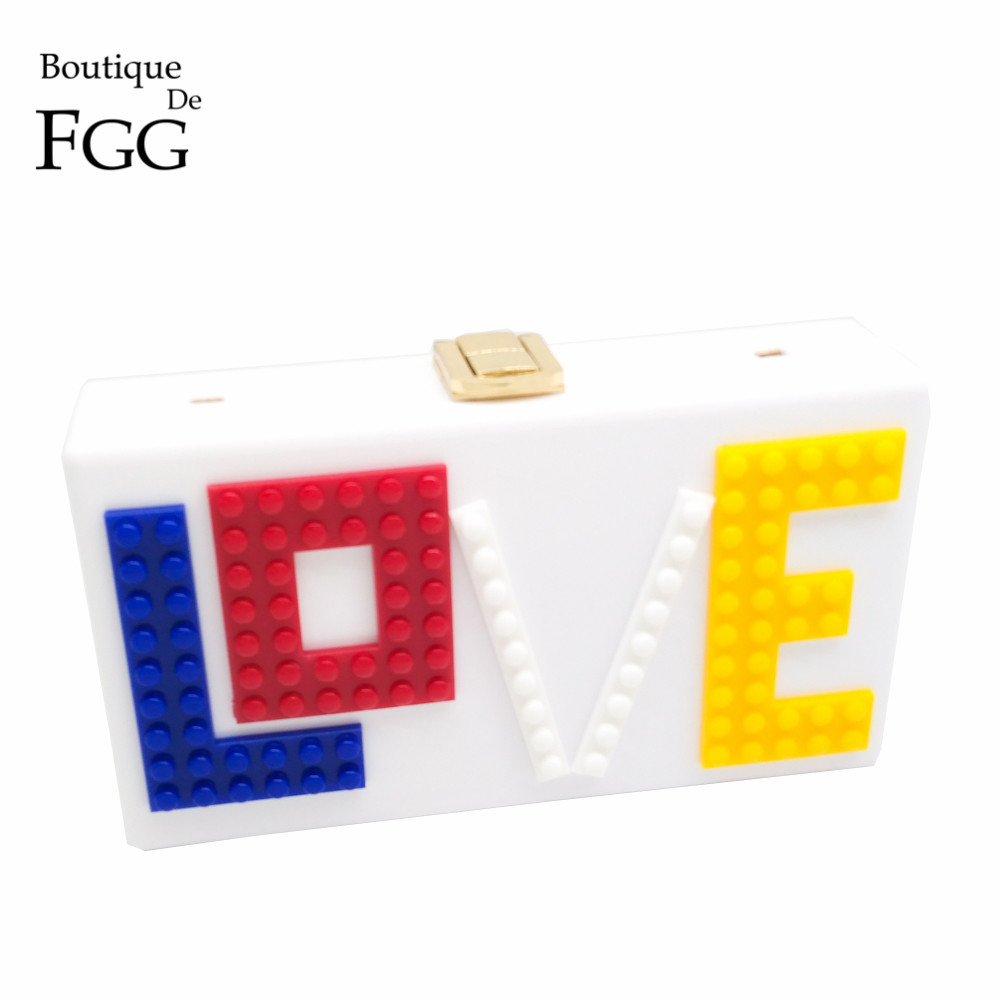 LOVE Letters White Acrylic Women Evening Clutch Bag Chain Shoulder Handbags Crossbody Hardcase Clutches Wedding Party Prom Purse solid white acrylic women evening purse bridal striped handbags wedding party prom clutch bag long chain shoulder crossbody bag