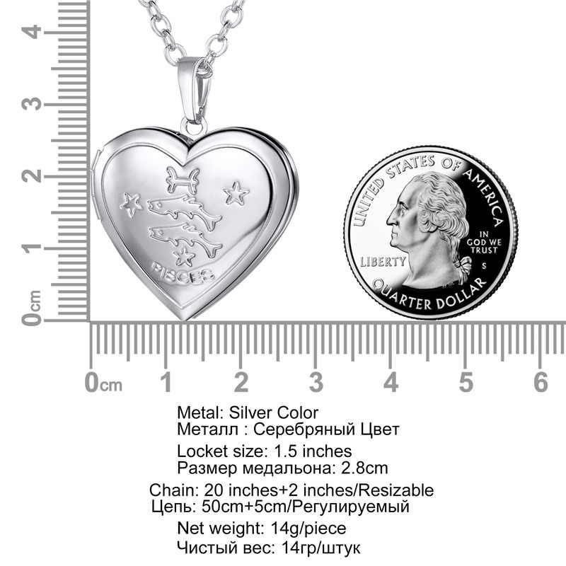 Kpop unissex jóias cor do ouro 12 signos da constelação do zodíaco em forma de coração foto medalhão colar pendente para homens femininos p3207
