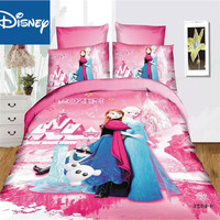Frozen bedding set for girls home decor single size quilt covers twin bed spread flat sheet 3pcs promotion pink cartoon hot sale