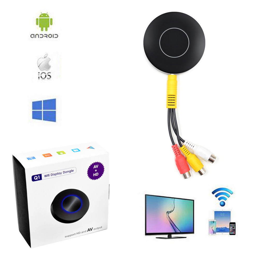 Wifi Screen Push Cast Display for Android IOS Tablet PC AnyCast Wireless DLNA Airplay Dongle Sharing to HDTV and AV RCA TV Stick электроника fastdisk miracast dlna widi dongle wifi ios android tablet pc hdmi