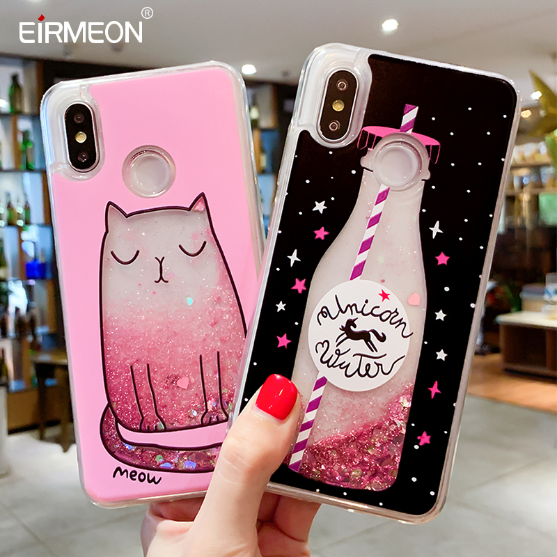 Luxury Liquid Quicksand Phone Case For Xiaomi Redmi S2 Mi 8 Love Heart Glitter Cover For Redmi Note 4X Note 5 Pro Glitter Coques-in Fitted Cases from Cellphones & Telecommunications