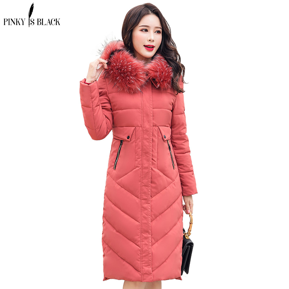 PinkyIsblack Winter jacket women fur coat new female long   parkas   down cotton jacket thick hooded collar women winter coat female
