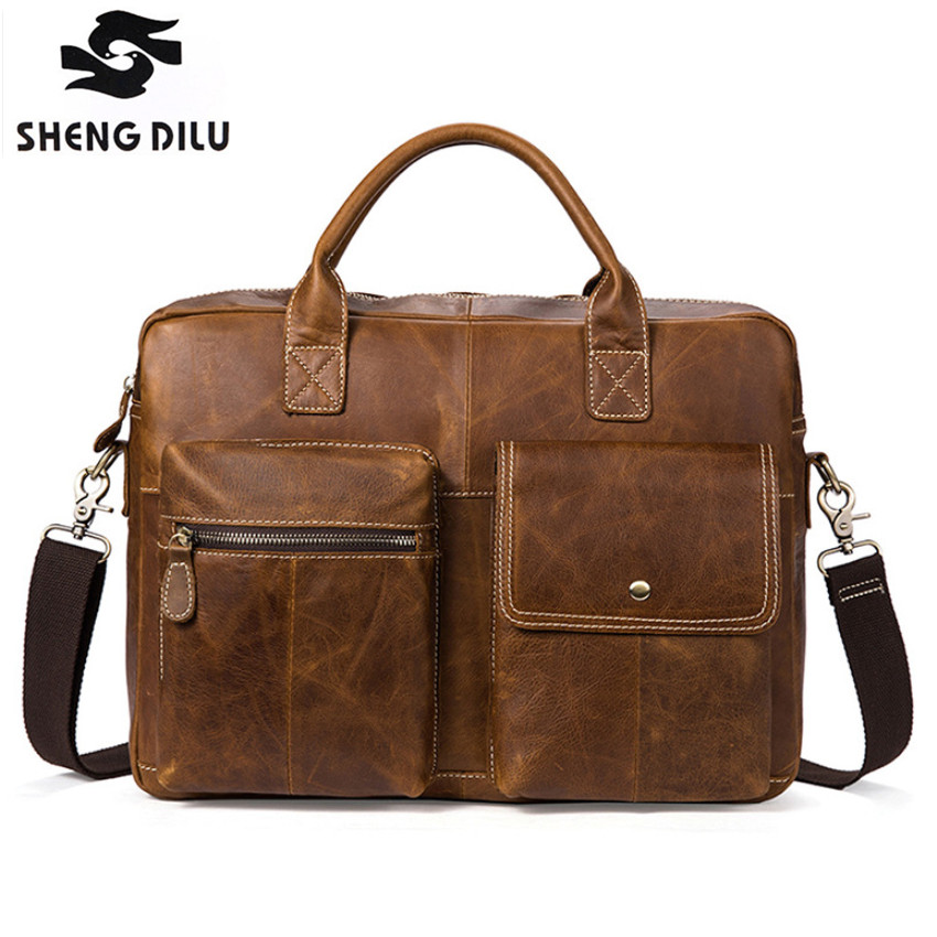 все цены на Fashion Simple Vintage Messenger Bag Famous Brand Business Men Briefcase Genuine Leather Laptop Bag Casual Man Shoulder bags онлайн
