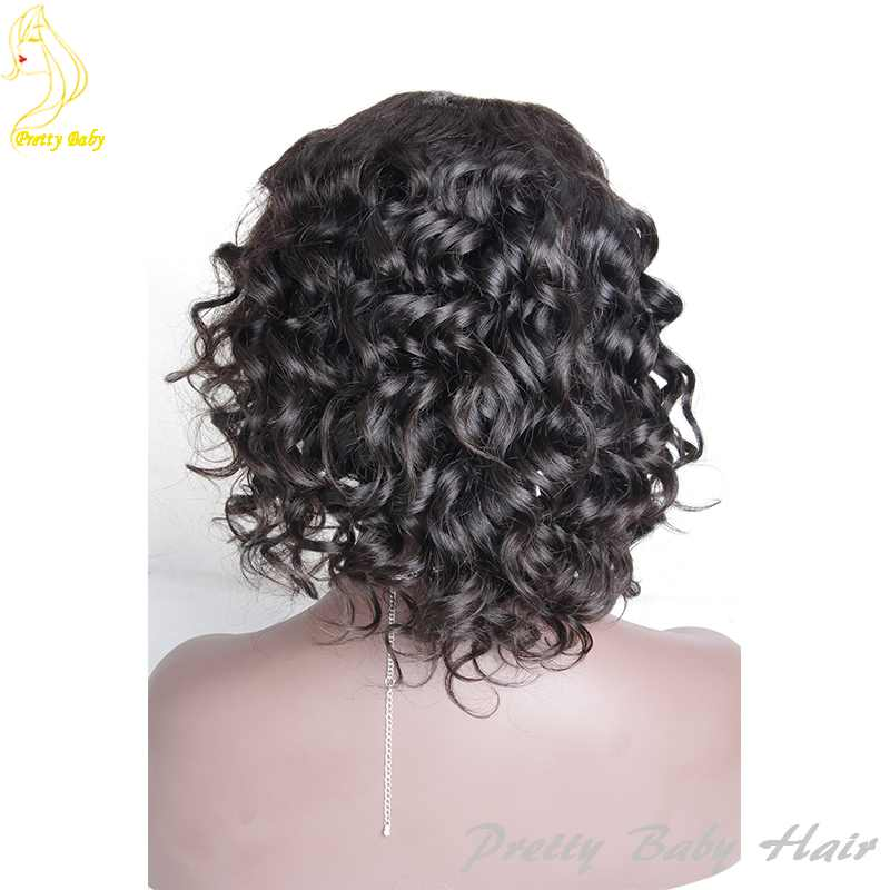 US $90 0 |Best Malaysian Human Hair Full Lace Wig Loose Bouncy Curly Short  Curly Lace Front Wig Human Hair Lace Wigs with Baby Hair-in Human Hair Lace