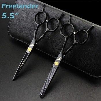 """Freelander 5.5 """"selling black japan scissors teflon scissors cheap hairdressing scissors hairdresser thinning scissors hairdress"""