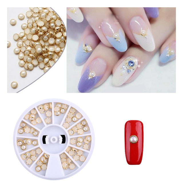 New Beige White Pearl Nail Art Stone 3D White Pearl DIY Beauty Charm ...