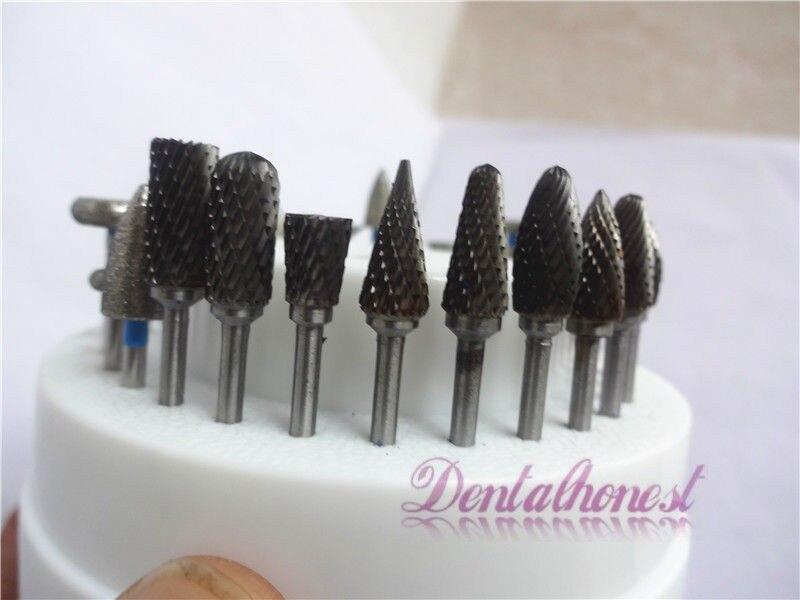 10Pcs Dental Tungsten Steel Nitrate Carbide Burs Drills Dentistry 2.35mm Dental Burs+1pc 60 Hole Block