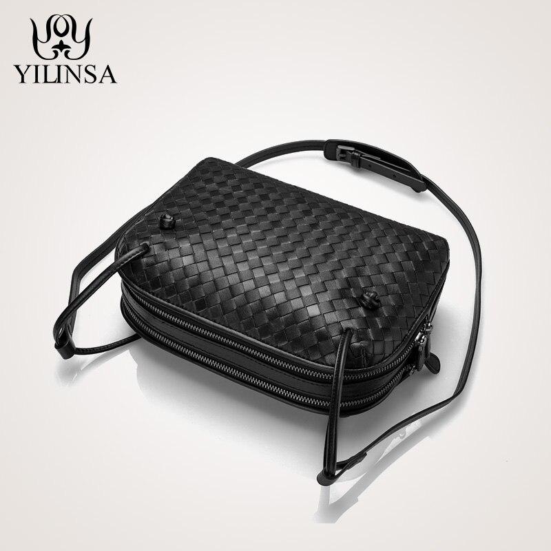 Corssbody 女性手作りニットシープ革財布レディースダブルプルバッグファッション小財布  グループ上の スーツケース & バッグ からの トップハンドルバッグ の中 1