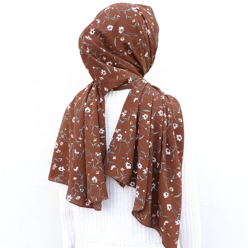 Women Printed Floral Bubble Chiffon Hijab Scarf Wraps Soft Long Islam Shawls Muslim Stripe Chiffon Scarves Hijabs