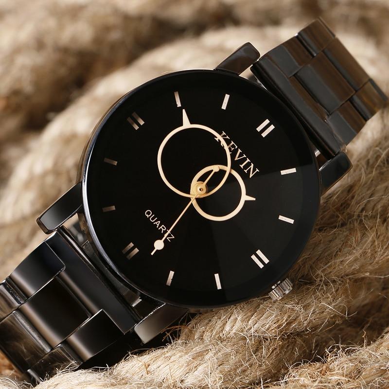 KEVIN Classic Wristwatches Stainless Steel Quartz Watch Fashion Creative Double Circle Wrist Watch Men Women Gift Relojes Montre цена