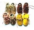 Nuevo double layer borla zapatos de bebé de cuero suave bling lace-up bebé mocasines zapatos del niño recién nacido del slip-on botas primeros caminante