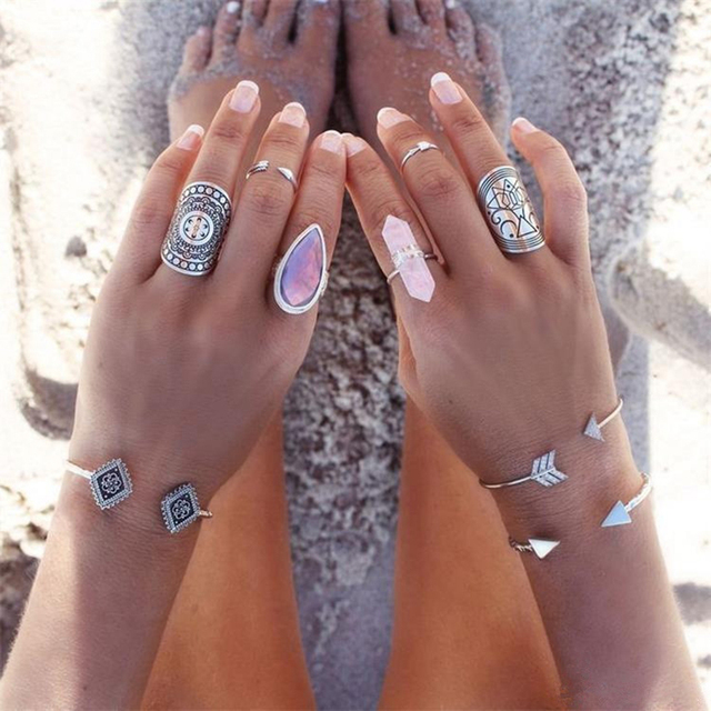 1Pc Fashion Boho Vintage Sliver Plated Hexagonal Crystal Gem Ring Oval Ring Woma
