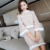 2019 New Autumn Winter Womens Outfit Fashion O Neck Beads Pullover Tops + Short Skirts Two Piece Sets Slim Fit Chic Tweed Suit