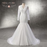 Rose Moda Illusion V Neck Long Sleeves Modest Mermaid Wedding Dress Vintage Lace Bridal Gown Custom