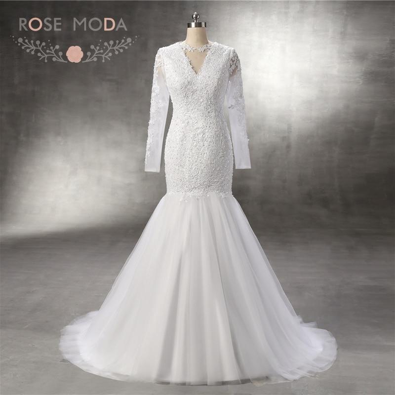 Rose Moda High Neck Long Sleeves Lace Wedding Dress Mermaid Wedding Dresses 2018 African Wedding Gowns Real Photos