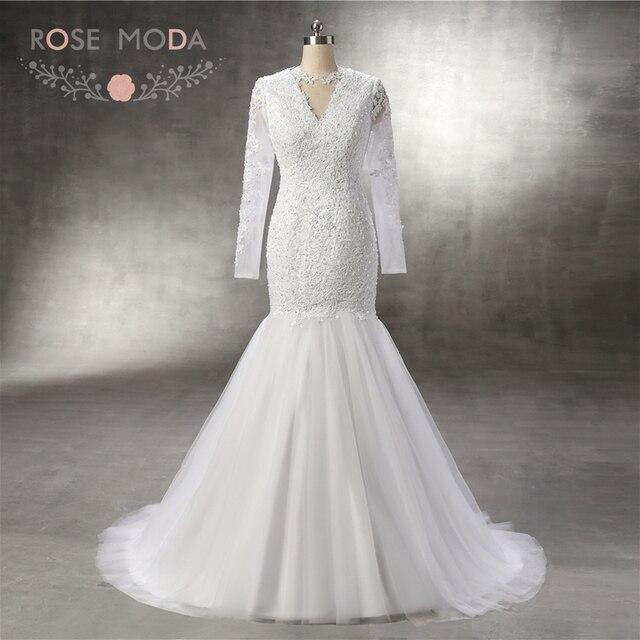 Rose Moda High Neck Long Sleeves Spitze Brautkleid Meerjungfrau ...