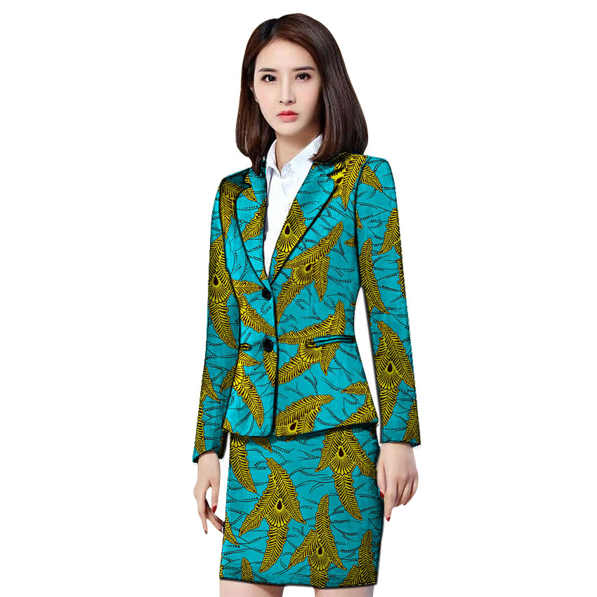 African Clothing Women Print Blazer With Skirt Ankara Fashion Skirt And Jacket Sets Female Outfits Dashiki Suits