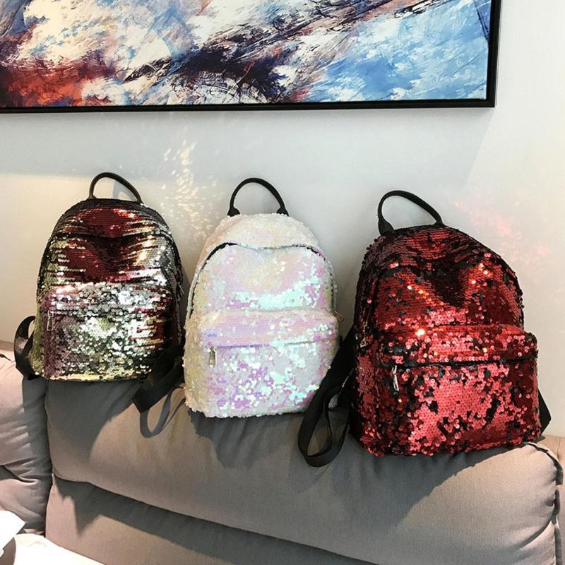 Sequins Glitter Bling Backpacks Teenager Girls PU Leather Backpack Girls Shoulder School Bag Travel Rucksack 12