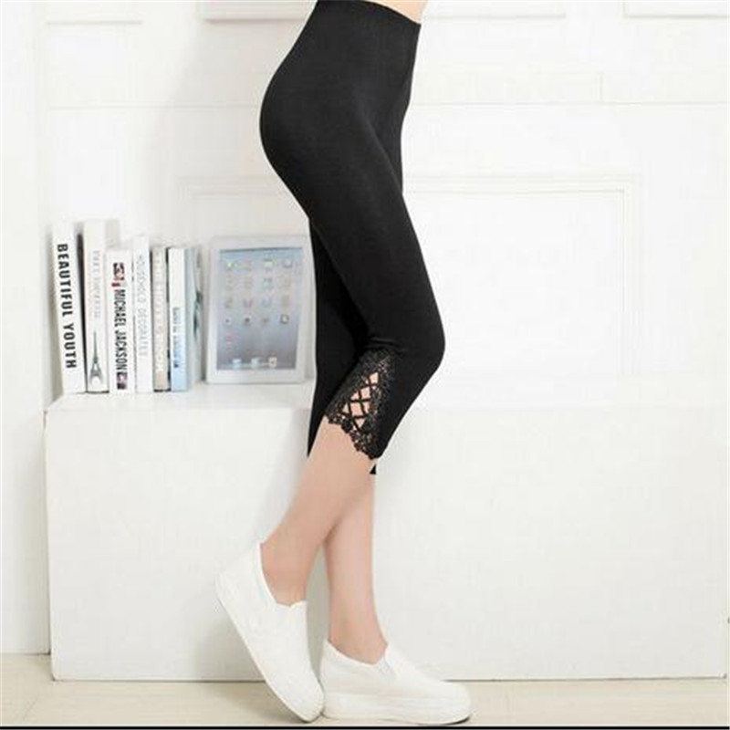 Image 5 - Hot Womens Crop 3/4 Length Leggings Clothes Ladies High Waist Pants Capri Cropped Lace Summer Modal High Quality Pants New-in Pants & Capris from Women's Clothing