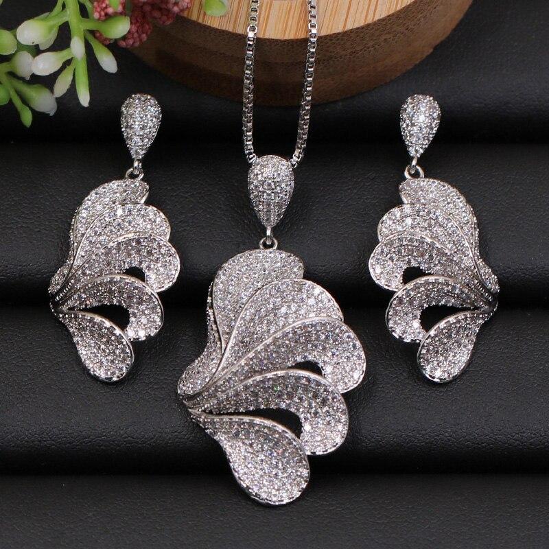 Lanyika набор ювелирных изделий модные элегантные ангельские крылья полный циркон микро выложенное ожерелье с серьгами для свадьбы поп лучший подарок для невесты|Ювелирные наборы| | АлиЭкспресс