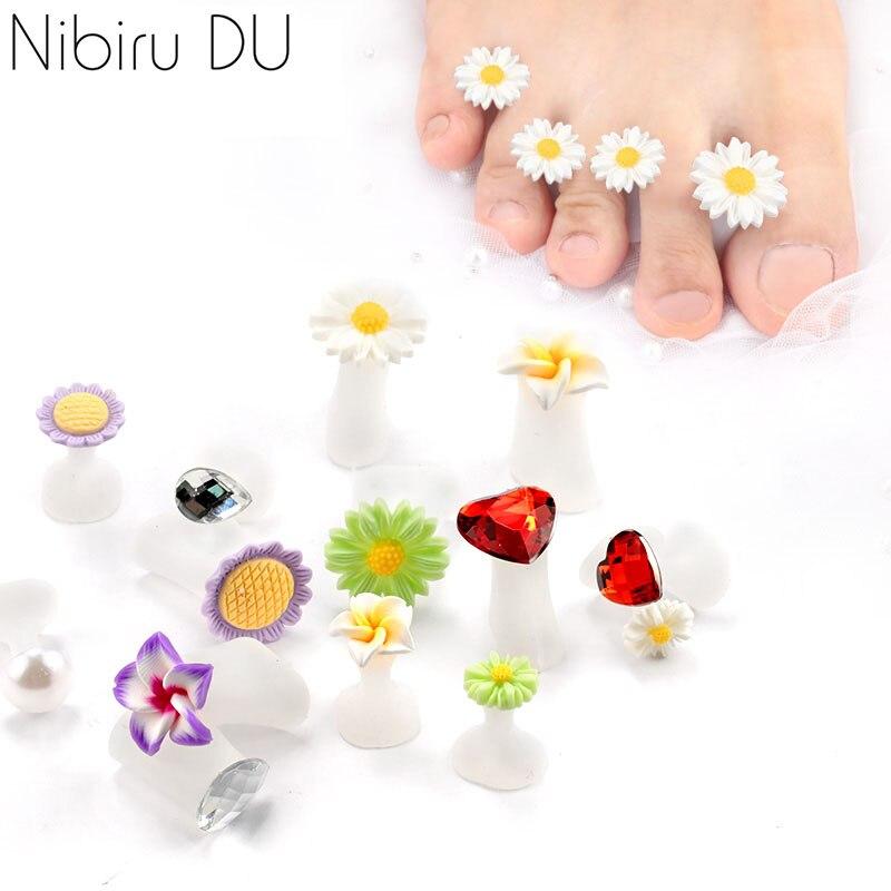 8Pcs/Set Silicone Toe Separators Foot Toe Spacers Daisy Flower Sunflower Waterdrop Pedicure DIY Foots Toe Nail Art Tool