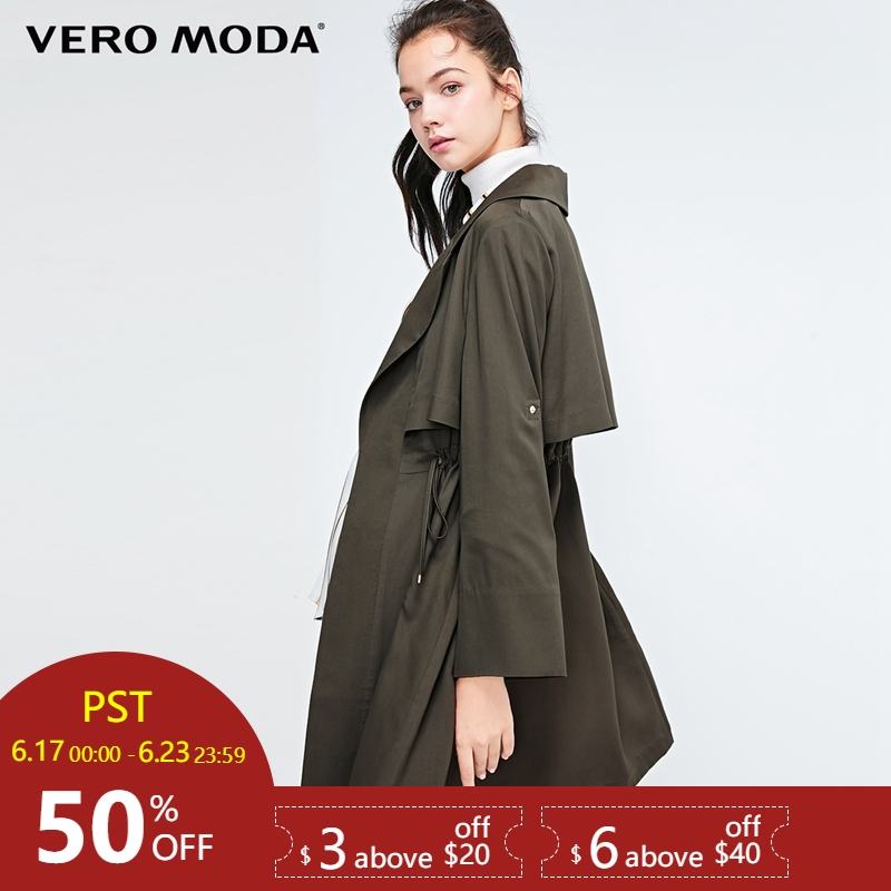 Vero Moda Women's Lace-up Two-way Sleeves Lapel   Trench   Coat|318321517