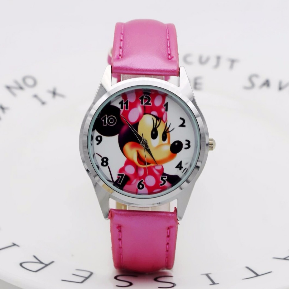 2019 Fashion Minnie Mouse Children Watch Kids Watches Fashion Casual Women Girls Quartz Watch Leather Montre Enfant