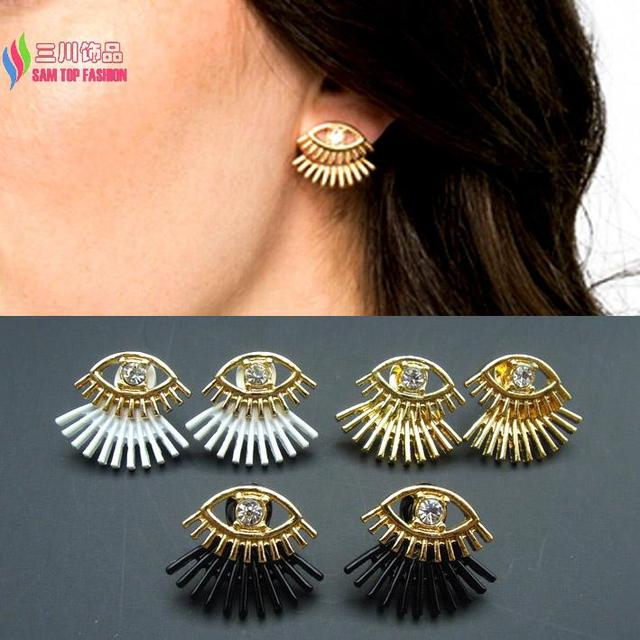 2c4b6ae4a Hot 2015 earrings women designer fashion gold color white black coated eye  Eyelashes ear stud earring Aretes de las mujeres