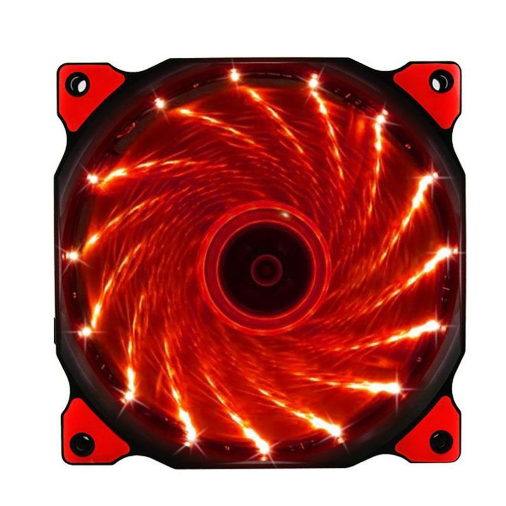 ПК компьютер 16 дБ Ультра тихий 12 светодиодов 15 светодиодов чехол вентилятор Радиатор охлаждения ПК Вентилятор 120 мм, 12 см вентилятор, 12В DC 3P IDE 4pin - Цвет лезвия: Красный