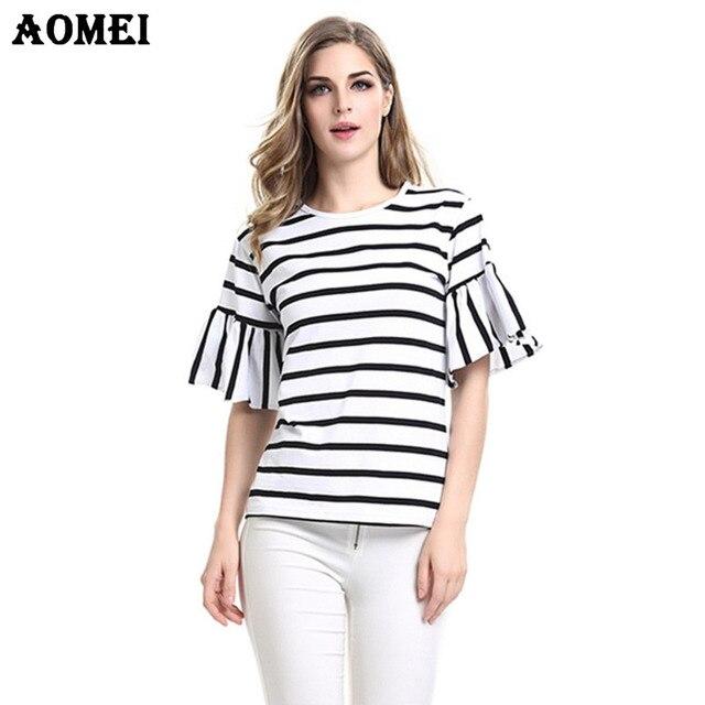 2018 Femmes Volants Manches Casual T Shirt Rayé Noir et blanc O Cou T-shirt