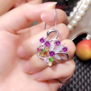 Special products   Beautiful multi-color natural tourmaline, each color is candy color, 925 silver necklace