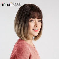 Inhair Cube Synthetic Flat Bangs Women Wig Ombre with Highlight Short Straight Hair Bob Wig Cosplay Hairstyle