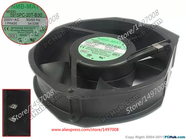 NMB-MAT 5915PC-20T-B30, B00 AC 200V 34W 172X150X31mm Server Round fan nmb mat new 5915pc 20w b30 b00 ac 200v 34w 172x150x38mm server round fan