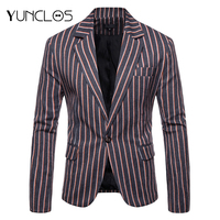 YUNCLOS 2019 Casual Striped Slim Fit Men Suit Blazer Fashion Single Button Business Men's Suit Jacket Male Blazer Prom Blazers