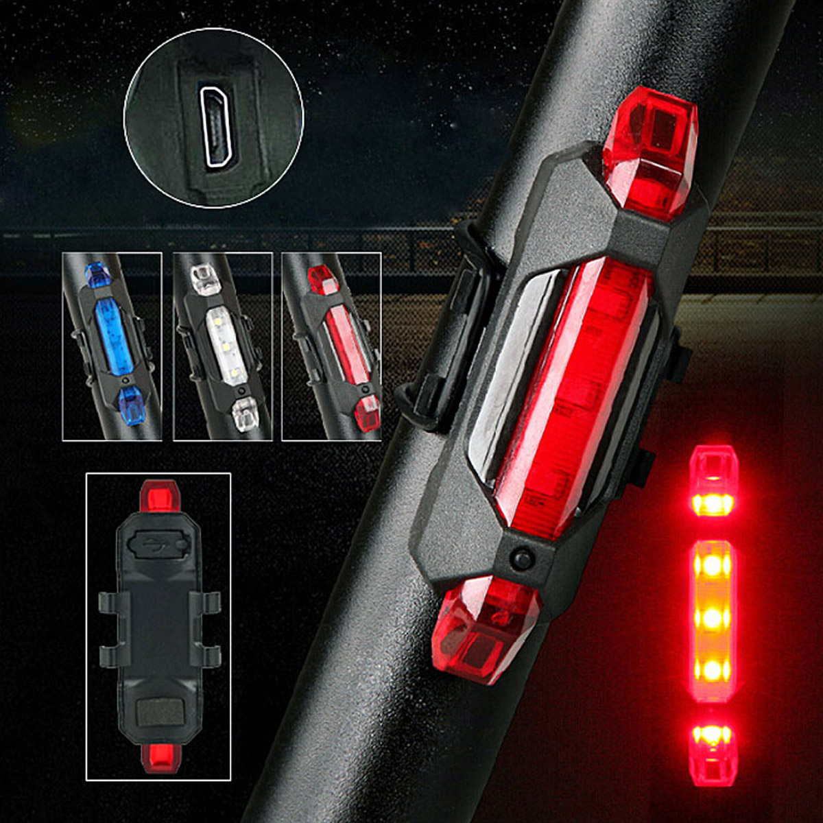 New Portable LED USB Rechargeable Cycling Light Bike Bicycle Tail Rear Safety Warning Light 55 YS-BUY цена