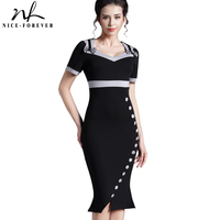 Bow Female Work Vintage Women Cotton Tunic Black Short Sleeve Formal Mermaid Buttons Evening Party Bodycon