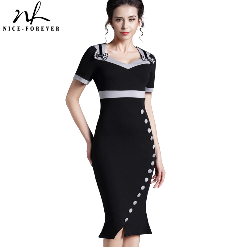 Buy Cheap Nice-forever Bowknot Female Work Vintage Dress Women Cotton Tunic Black Short Sleeve Formal Mermaid Buttons Wiggle dress b220