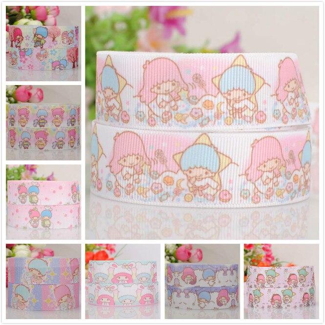 7/8  22 mm new lovely little twin star ribbon pattern cartoon tape grosgrain ribbon free shipping