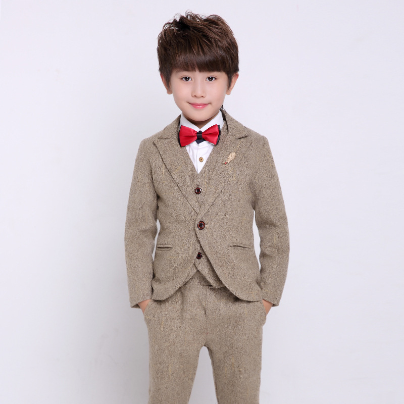 3 Piece Boys Blazer Suit Boys Khaki Wedding Dress Boys Autumn British Style Formal Suits Kids Boys Clothes