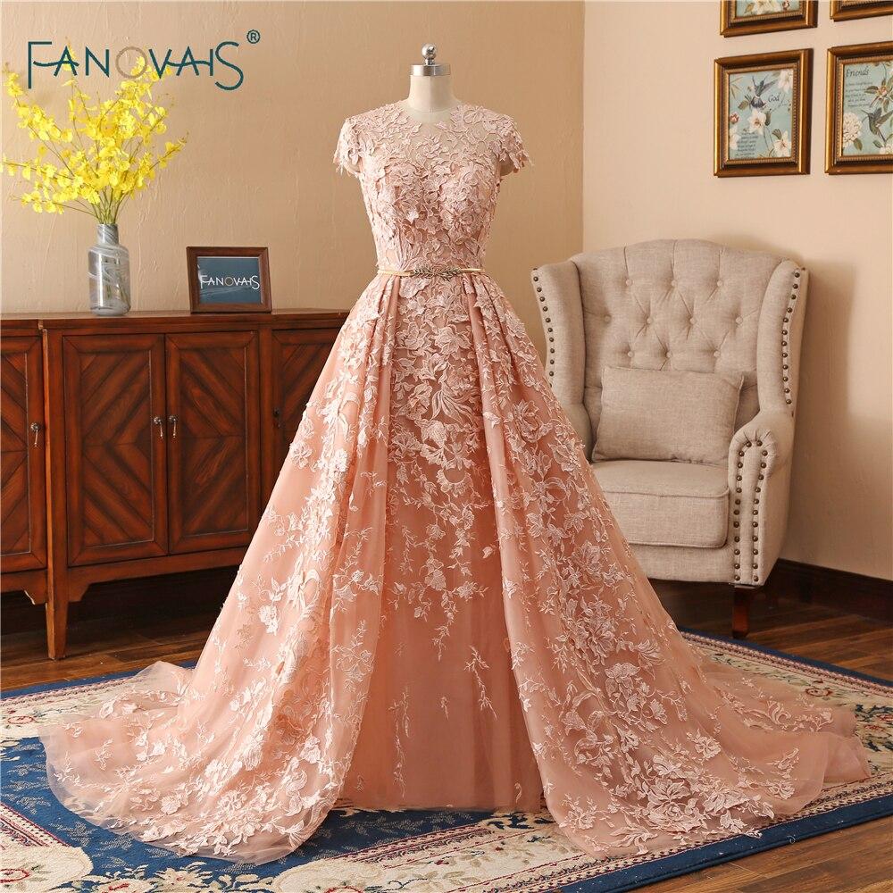 53cade1c9f8b Vintage Lace Mermaid Evening Dresses Long 2019 O-Neck Tulle Applique Beaded Prom  Dresses Removable Train Vestido de Fiesta NE4