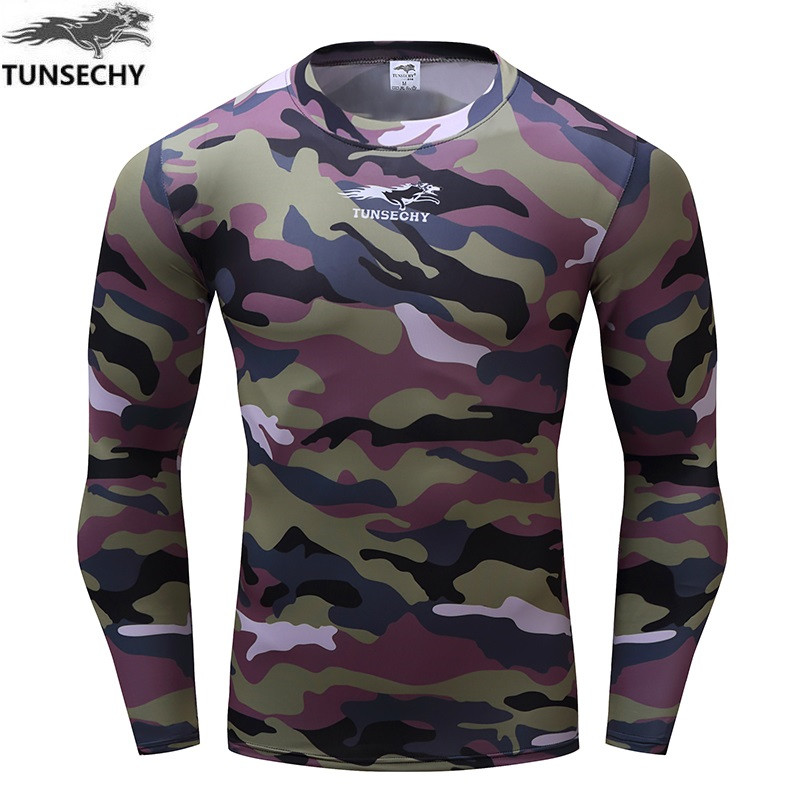 Hot Sell 2017 Tunsevhy New Fitness Compressed T-shirt Camouflage Fitness To Join 3 D Long Sleeve T-shirt Man Clothes