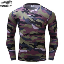 Hot sell 2017 tunsevhy new fitness compressed T-shirt camouflage fitness to join 3 d long sleeve T-s