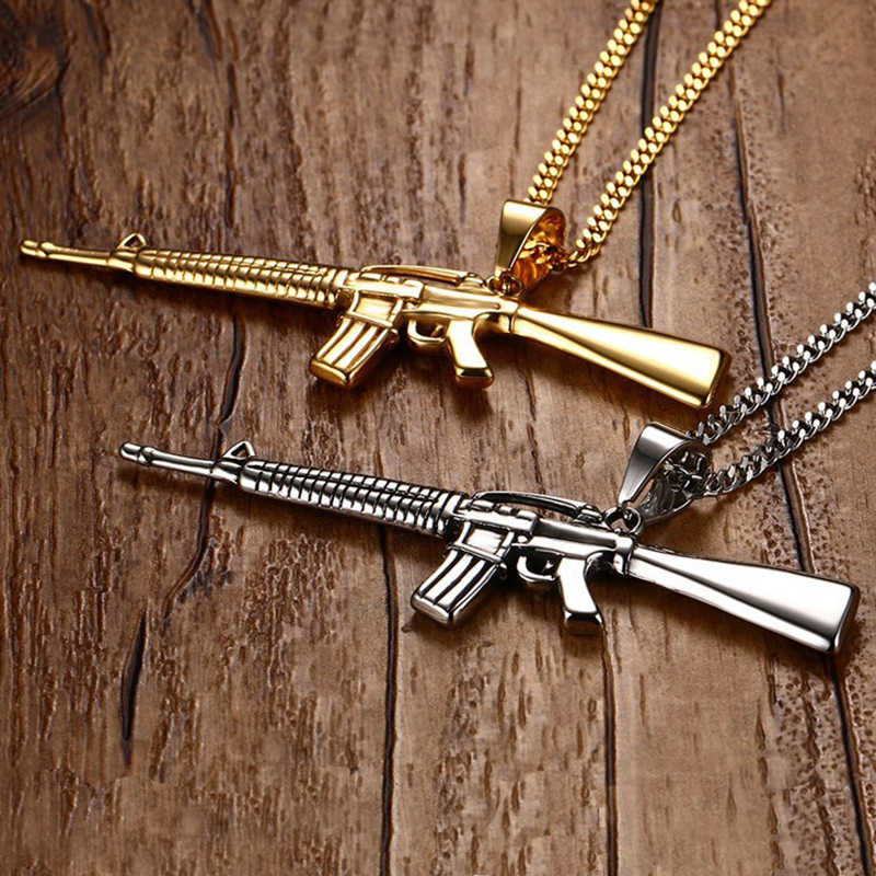 2018 Fashion AK-47 Gun Model Pendant Necklaces Steampunk Acrylic Jewelry  Arms AK 47 Stainless Steel Statement Necklace For Men