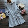 Floresta das mulheres casual sweet artes selvagem casual botão de madeira padrão de xadrez cintura elástica manga comprida feminino dress mori menina k012