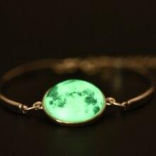 Glowing in the Dark Galaxy Moon Bracelet For Women